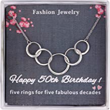 Burning Love 50th Birthday Gifts For Women,Sterling Silver Five Interlocking Circles Necklace Pendant Jewelry For Women, Five Decades Jewelry Fifty Years Old Mothers Day Gifts