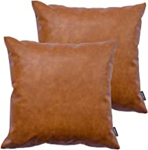 Best HOMFINER Faux Leather Throw Pillow Covers, 18 x 18 inch Set of 2 Thick Cognac Brown Modern Solid Decorative Square Bedroom Living Room Cushion Cases for Couch Bed Sofa Reviews