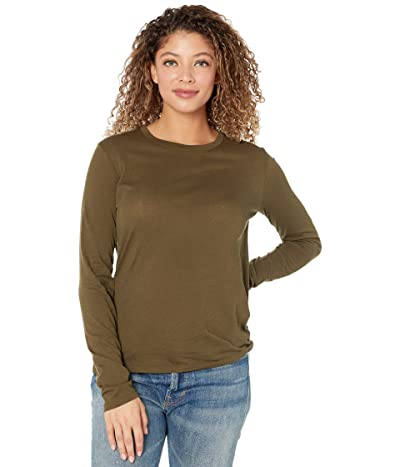 Vince Essential Long Sleeve Crew (Antique Olive) Women