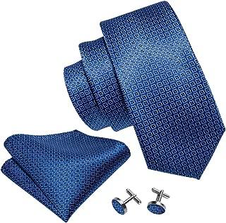 Barry.Wang Mens Ties Blue Silk Stripe/Plaid Necktie Set with Hanky Cufflinks