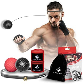 Boxing Ball on String,  Complete Boxing Set with 2 Difficulty Levels Boxing Reflex Balls Including Headband and Hand Wraps,  Improve Your Agility,  Coordination and Punching Speed,  Easy to Use
