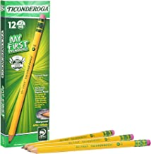 TICONDEROGA My First Pencils, Wood-Cased #2 HB Soft, Pre-Sharpened with Eraser, Yellow, 12-Pack (33312)