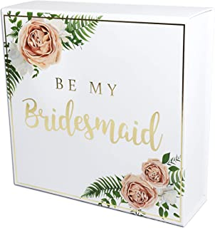 Blanche Bridesmaid Proposal Box with Gold Foiled Text | 1 Empty Box | Perfect for Will You Be My Bridesmaid Gift and Wedding Present