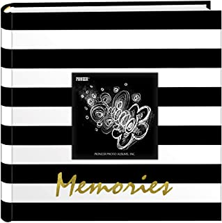 Pioneer Photo Albums Golden Memories Black and White Striped 200 pkt 4x6 Photo Album, Pocket, Gold