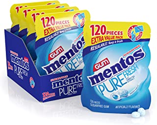Mentos Pure Fresh Sugar-Free Chewing Gum with Xylitol, Fresh Mint, Halloween Candy, Bulk, 120 Piece Bulk Resealable Bag (Pack of 4), (120 Count (Pack of 4))