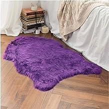Faux Fur Sheepskin Rug, Soft Chair Cover Seat Pad Plain Skin Fluffy Area Rugs, Washable Bedroom Home Decor,Purple,60x120cm