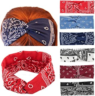 Yeshan Paisley Print Wide Bandana Knot Headbands Criss Cross Head Wrap Hair Band,pack of 6
