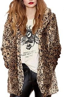 Aukmla 女士人造毛皮大衣豹纹印花中长翻领夹克带口袋