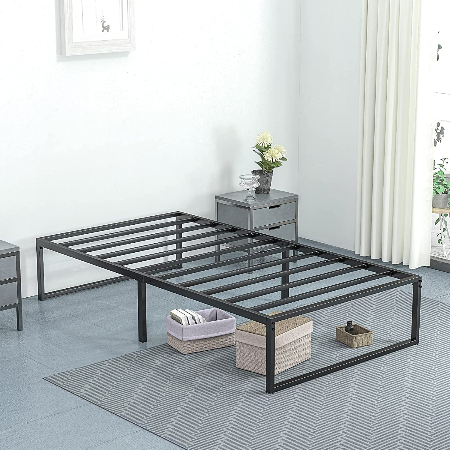 Ssecretland 14 Inch Twin Size Bed Frame Metal Platform and Anti-Slip Bed Frame for Noise Free with Underbed Storage Heavy Duty and Easy Assembly Mattress Frame with Strong Support/No Box Spring Need: Kitchen & Dining