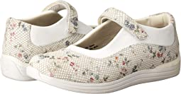 White Floral Snake Print Leather