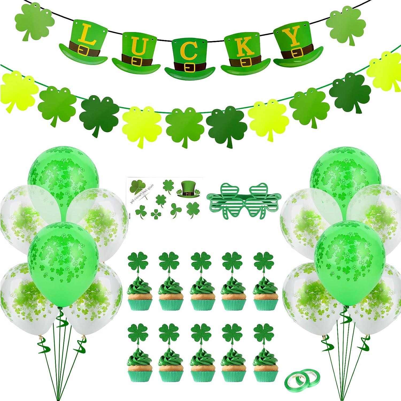 28 PCS St Patricks Day Decorations Felt Shamrock Clover Garland Lucky Burlap Banner Balloons Cake Topper St. Patricks Day Party Decorations for Home Birthday Irish Party Supplies Decor