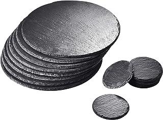 MALACASA, Série NATURE.SLATE, Lot de 8pcs 30*30cm Plateau à Fromage Ardoise Assiette Dessous de Plat + 8pcs 10*10cm Dessou...