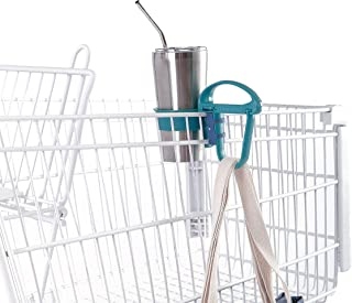 Toolaloo - Multi-Function Tool - Grocery Cart Drink Holder and Bag Organizer, Grocery Bag Handle, Reusable Grocery Bag Storage, Headrest Hook - Teal + Navy