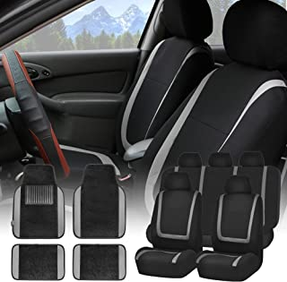 FH Group FH-FB032115 Unique Flat Cloth Seat Covers with F14407 Premium Carpet Floor Mats Gray/Black- Fit Most Car, Truck, SUV, or Van