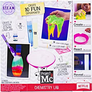 Project MC2 Chemistry Lab Stem Science Kit by Horizon Group Usa, DIY 10 Great Science Fair Experiments, Make Your Own Glow In The Dark Gooey Slime Putty, Glowing Lava Jar & More