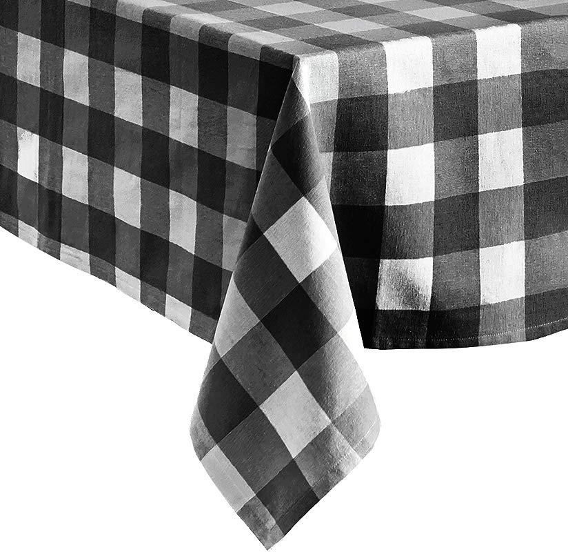 Elrene Home Fashions Farmhouse Living Buffalo Check Tablecloth 60 X 84 Black White