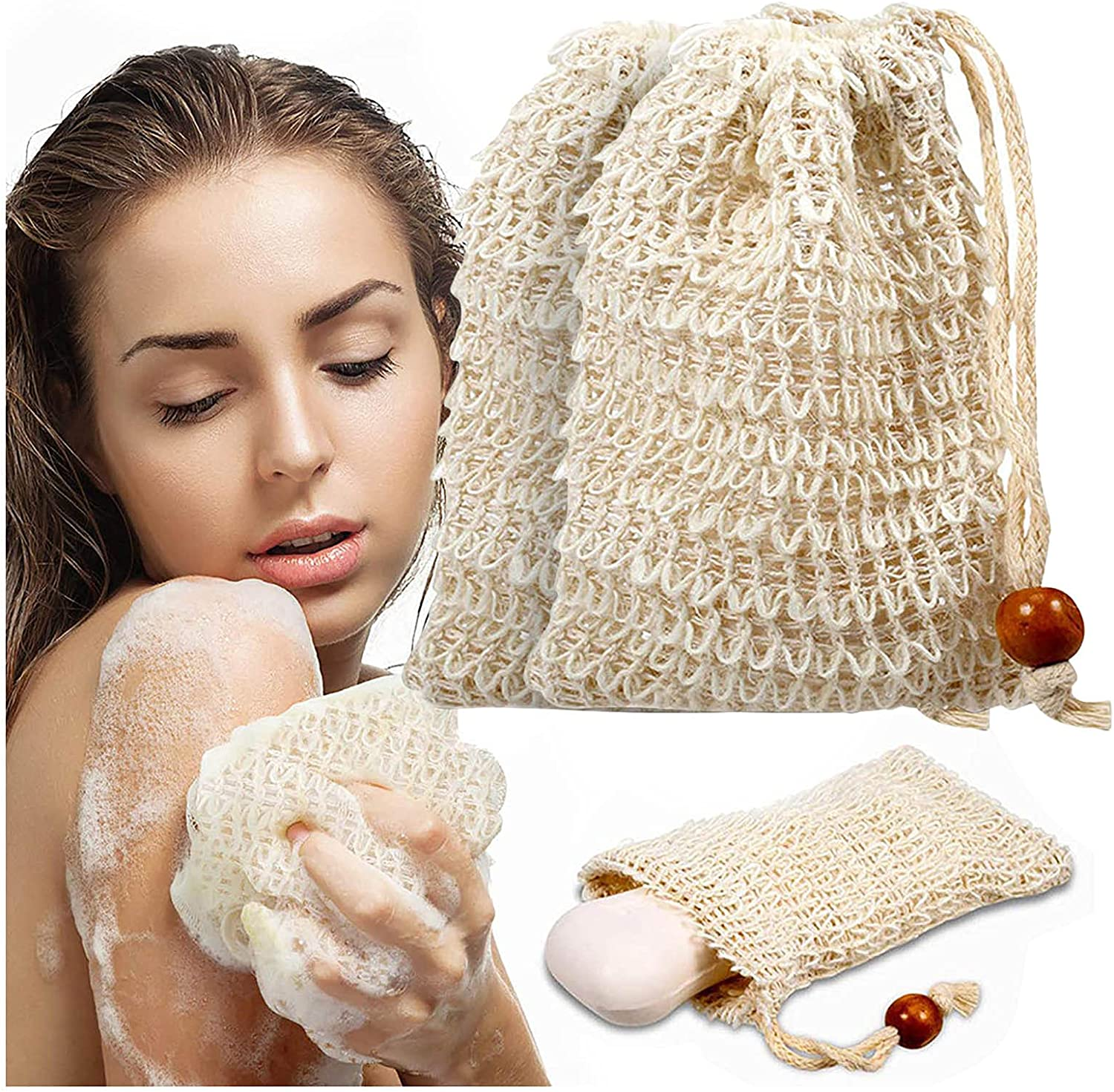 High quality PEMXSWA 2PCSNatural Popular overseas Sisal Soap Bags Soaps for Scraps Ideal Save