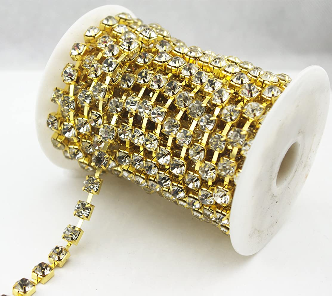 AEAOA 10 Yard Clear Crystal Rhinestone Chain Clear Trim Sewing Craft Cup Chain Party Decoration (2mm, Gold)