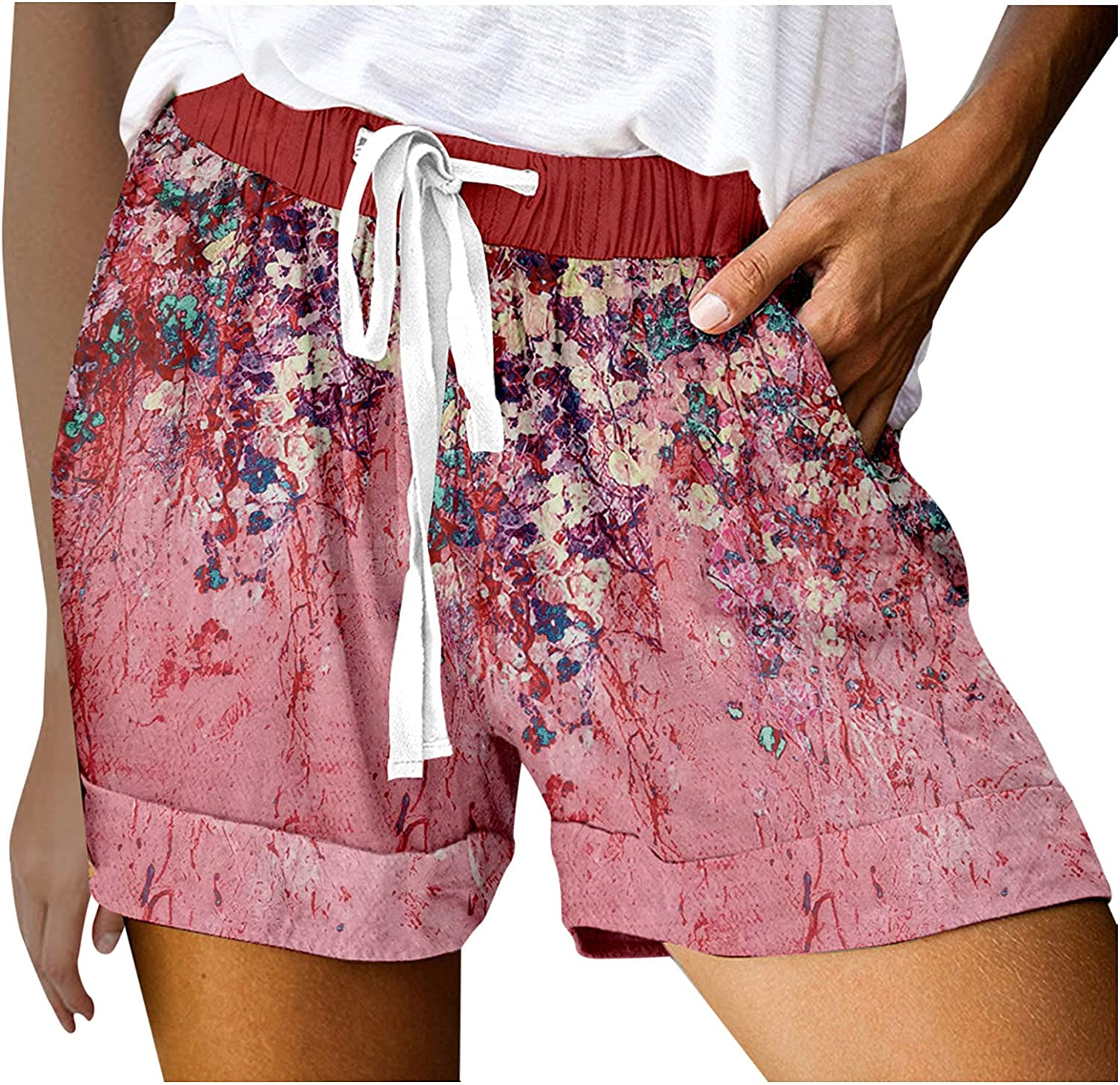 BEUU Womens Summer Casual Drawstring Elastic Waist Comfy Lounge Shorts Boho Floral Athletic Workout Shorts with Pockets