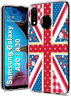 MOBIFLARE Slim Case for Samsung Galaxy A20 / A30, Not for Galaxy A10E A50, Shabby Chic Union Jack Design Light Weight, Unbreakable, Flexible, Surround Edge Protection