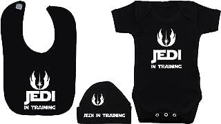 Babyset mit Strampelanzug, Mütze und Latz, Motiv: Jedi in Training, Schwarz, für Babys von 0-12 Monaten