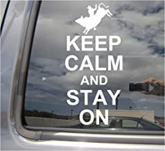 Right Now Decals - Keep Calm Stay On - Rodeo Bull Riding - Cars Trucks Moped Helmet Hard Hat Auto Automotive Craft Laptop Vinyl Decal Store Window Wall Sticker 03026