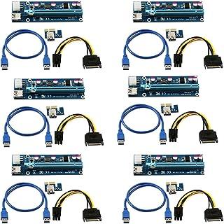 LONGXI (6Unidades) de Corriente de 6Pines PCI-E PCI Express Riser–Ver 006C–1x A 16x Tarjeta Adaptador–PCIe USB 3.0con USB Cable de extensión–Tarjeta gráfica GPU Crypto Moneda minería