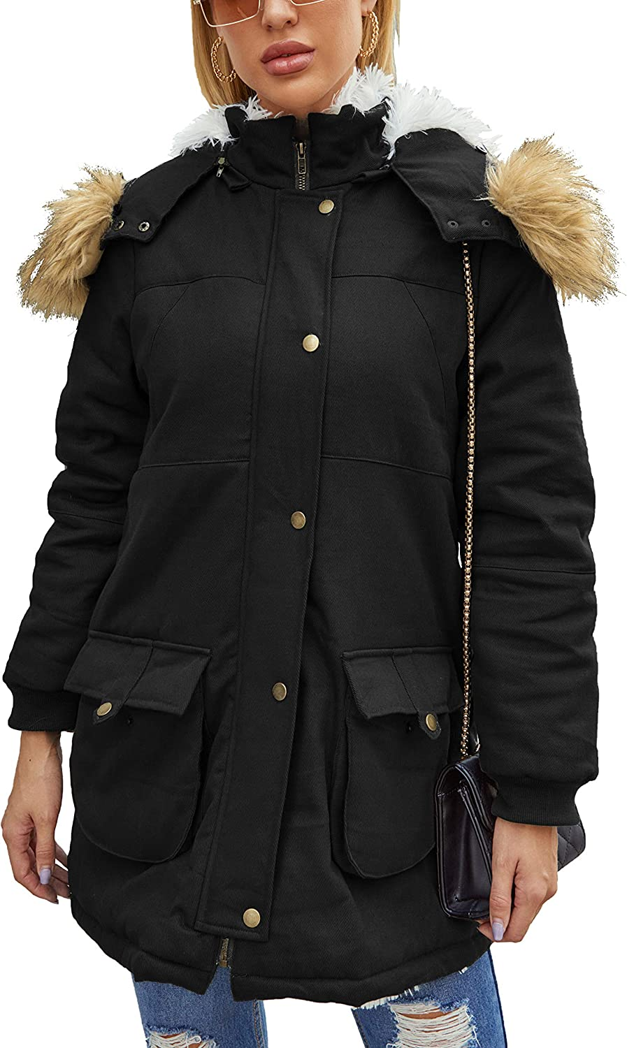 Women's Hooded Parka Coat Warm Winter 5 ☆ popular Faux Jacket Lined Manufacturer regenerated product with Fur