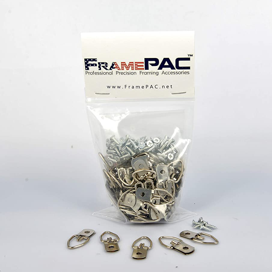 Picture Frames Single Hole Clasp D Ring Hangers W/ Screws (100 Pcs)