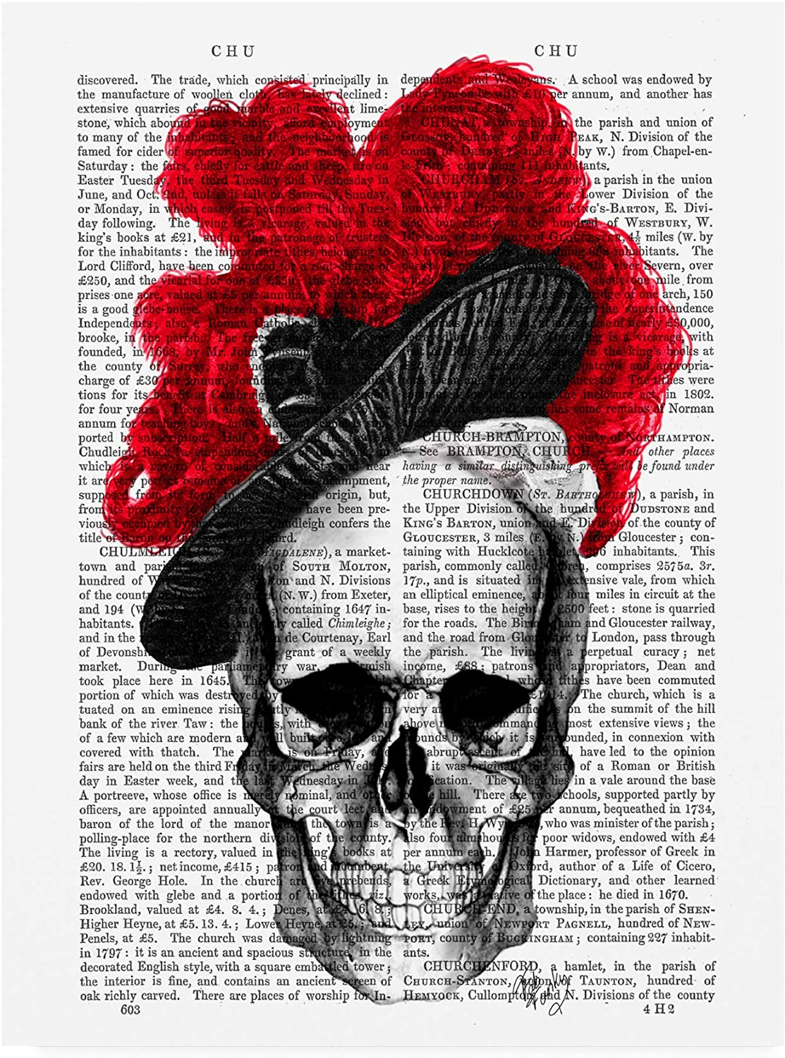 Trademark Fine Art Skull with Red Hat by Fab Funky, 14x19