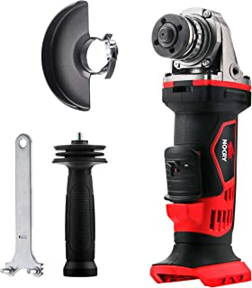 """NoCry 20V Cordless 4 1/2"""" Angle Grinder - Bare Tool ONLY with 10,000 RPM Max Speed; Guard Attachment, Nut Wrench & Handle Included"""