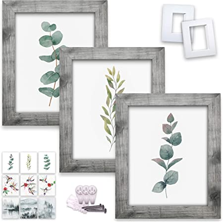 Amazon Com 8x10 Picture Frames W 5x7 4x6 Mats And 9 Prints Rustic Farmhouse Style Wood Pattern With High Definition Glass For Tabletop Or Wall Decor Framed Set Of 3