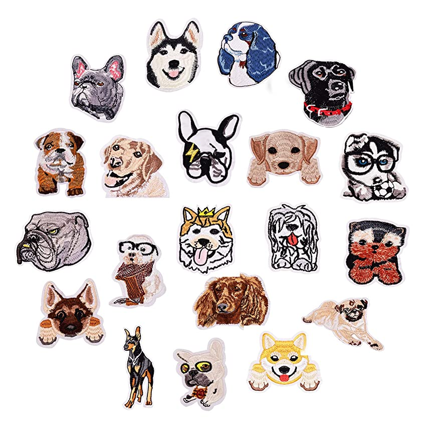 Ancefine 20 Pieces Iron On Dog Patches Embroidered Applique for Clothing Backpacks Jeans
