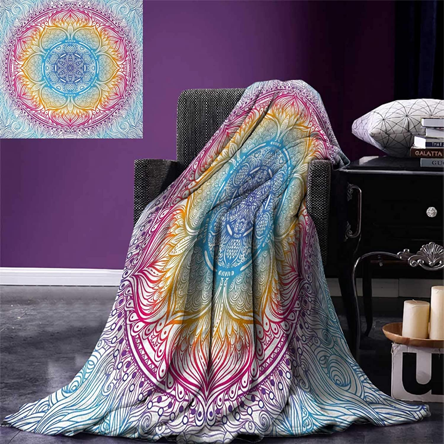Anniutwo Ethnic King Flannel Blanket Magical Fantastic Design in Vivid colors Boho Round Figure Blooms Lotus Inspiration Weave Pattern Extra Long Blanket 90 x108  Multicolor