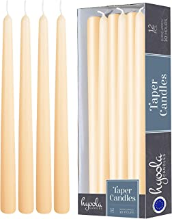 12 Pack Tall Taper Candles - 12 Inch Cream Dripless, Unscented Dinner Candle - Paraffin Wax with Cotton Wicks - 10 Hour Burn Time