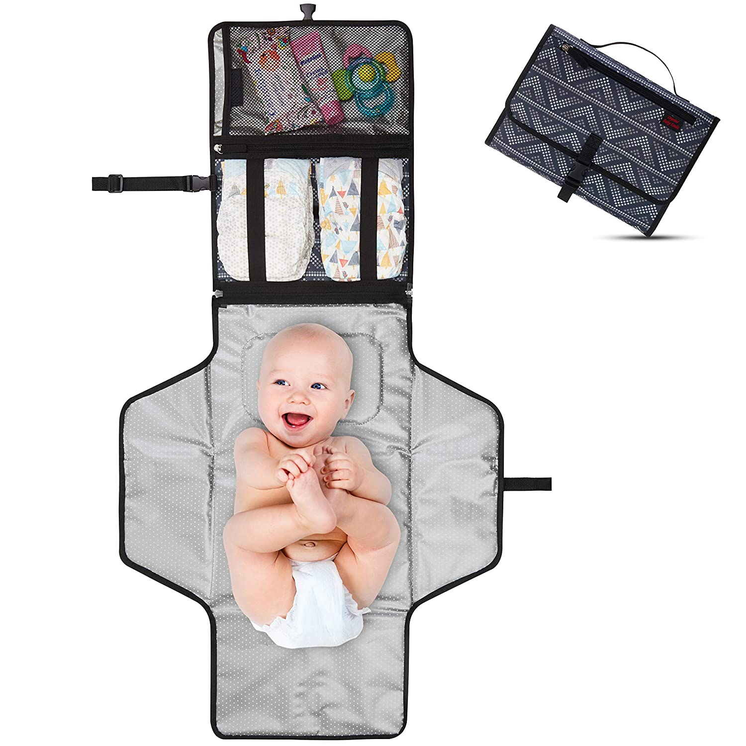 Crystal Baby Smile - Portable Changing Pad - Travel Station - Diaper Baby Clutch Kit - Detachable, Wipeable Mat - Mesh and Zippered Pockets - Gray Dots