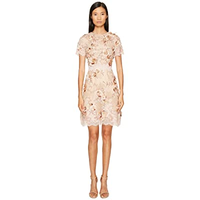 Marchesa A-Line Cocktail in Tulle with Floral Embroidery (Blush) Women
