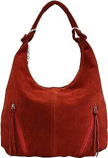 AMBRA Moda La bolsa de asas de cuero de las mujeres Bolso de gamuza Bolso de hombro Bolso de compartimiento Shopper grande...