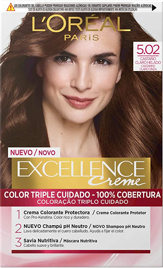 LOréal Paris Excellence - Crema Colorante Permanente Triple Cuidado con Pro-Keratina y Savia Nutritiva, Tono 5.02 Castaño Claro Helado