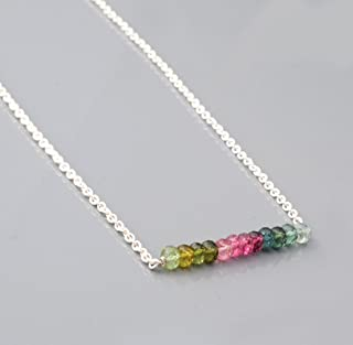 Watermelon Tourmaline Layering Bar Necklace with Sterling Silver Chain 16