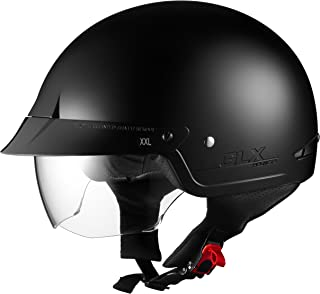 GLX Motorcycle Street Cruiser Scooter Half Helmet DOT Approved + 2 Retractable Visors (Matte Black, Large)