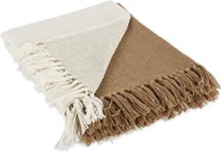 """DII Four Square Woven Throw, 50x60 with 3"""" Fringe, Stone"""