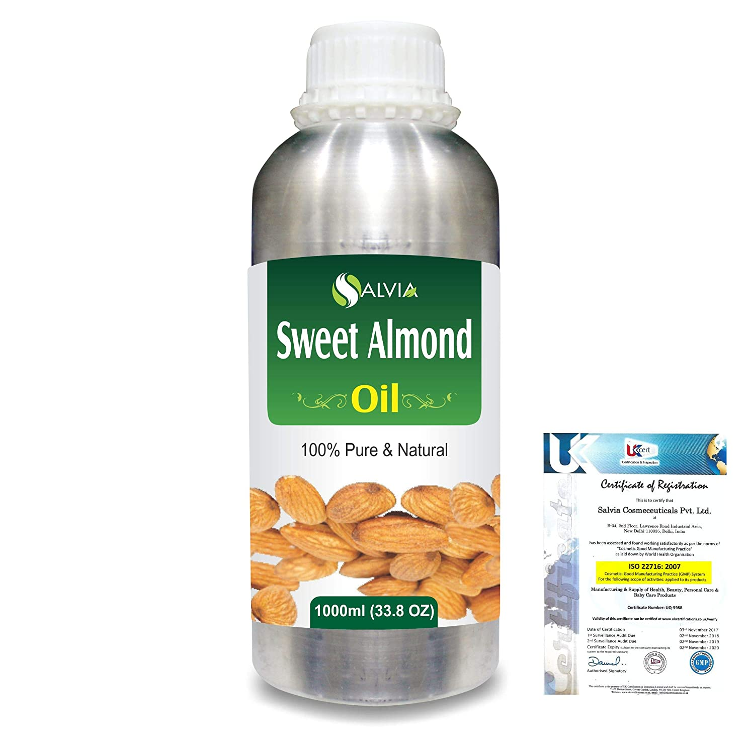 したい楽しい高尚なSweet Almond Oil (Prunus amygdalus) Natural Pure Undiluted Uncut Carrier Oil 1000ml/33.8 fl.oz.