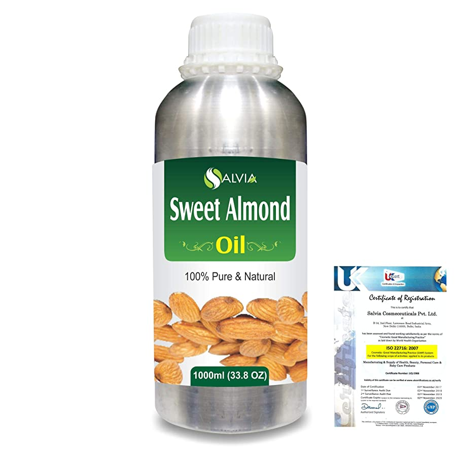 談話年金動的Sweet Almond Oil (Prunus amygdalus) Natural Pure Undiluted Uncut Carrier Oil 1000ml/33.8 fl.oz.