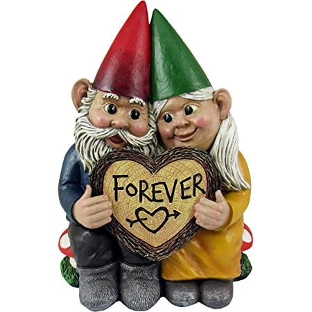 DWK - Gnome & Forever - Adorable Hand-Painted Gnome Couple in Love with Heart-Shaped Forever Wood Slice Indoor Outdoor Figurine Cute Romantic Home Garden Patio Lawn Accent, 6.5-inch