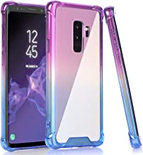BAISRKE Galaxy S9 Plus Case, Shock Absorption Flexible TPU Soft Edge Bumper Anti-Scratch Rigid Slim Protective Cases Hard Plastic Back Cover for Samsung Galaxy S9+ Plus - Blue Purple Gradient