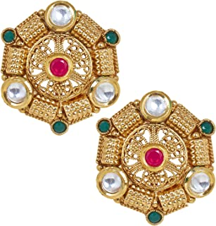 Shiining Jewel 18K Gold Plated Pure Copper Kundan, LCT, Pearls and CZ studded Traditonal Ethnic Stud Eaarrings for Women (...