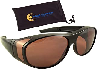 Ideal Eyewear Sun Shield Blue Blocking Fit Over Sunglasses HD Copper Lenses - Wear Over Glasses - Wrap Around