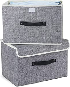 EZ GENERATION Storage Bins Set,Storage Baskets Pack of 2 Foldable Storage Boxes Cubes with Lids, Fabric Storage Bin Organizer Collapsible Box Containers for Nursery,Closet,Bedroom,Home(Light Gray)