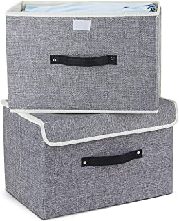 EZ GENERATION Storage Boxes Set DE 2, paniers de Rangement en Tissu de Coton paniers avec Poignées et couvercles Organisat...